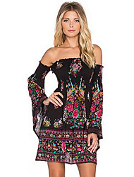 cheap -Women's Boho / Street chic Sheath / Little Black Dress - Floral / Geometric