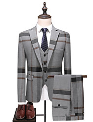 cheap -Men's Plus Size Suits-Color Block Peaked Lapel / Long Sleeve