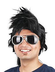 billige -Syntetiske parykker / Kostumeparykker Lige Bob frisure Syntetisk hår 14 inch Cosplay / Til europæisk Sort Paryk Herre Kort Maskinproduceret