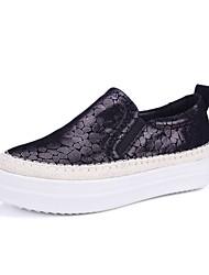 baratos -Mulheres Sapatos Pele de Carneiro Outono Conforto Mocassins e Slip-Ons Creepers Preto / Vinho