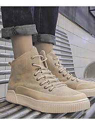 billige -Herre Hør Forår / Efterår Modestøvler Sneakers Ankelstøvler Sort / Kakifarvet