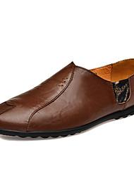 Недорогие -Муж. Наппа Leather Наступила зима Удобная обувь Мокасины и Свитер Черный / Темно-русый / Темно-коричневый