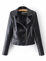 Недорогие -Жен. Кожаные куртки Воротник Питер Пен Однотонный