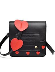 baratos -Mulheres Bolsas PU Telefone Móvel Bag Botões Preto / Vermelho