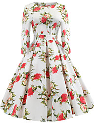 baratos -Mulheres Para Noite Vintage Algodão Evasê Vestido - Estampado, Floral Altura dos Joelhos