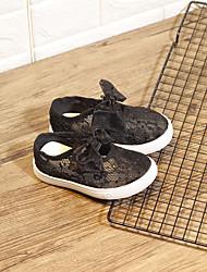 Недорогие -Девочки Обувь Сетка Лето Удобная обувь На плокой подошве Бант / На липучках для Дети Белый / Черный / Розовый