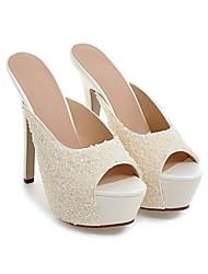 お買い得  -女性用 靴 PUレザー 夏 コンフォートシューズ サンダル スティレットヒール ホワイト / シルバー