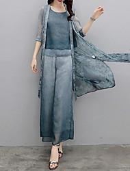 abordables -Mujer Chic de Calle / Tejido Oriental Conjunto - Un Color / A Cuadros Pantalón
