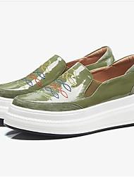 abordables -Femme Chaussures Cuir Verni Printemps / Eté Confort Mocassins et Chaussons+D6148 Creepers Bout fermé Noir / Vert Véronèse