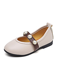 cheap -Girls' Shoes Leather Spring &  Fall Ballerina / Flower Girl Shoes Flats Imitation Pearl for Baby Black / Beige / Pink