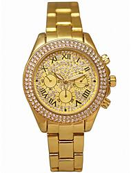cheap -Women's Wrist Watch Quartz Chronograph Luminous Casual Watch Alloy Band Analog Luxury Sparkle Gold - Gold / Imitation Diamond / Large Dial