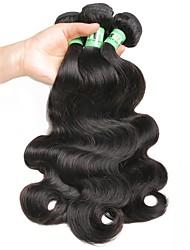 Недорогие -3 Связки Перуанские волосы Естественные кудри 10A человеческие волосы Remy One Pack Solution Плетение 8-30 дюймовый Черный Ткет человеческих волос Мягкость Натуральный Свадьба