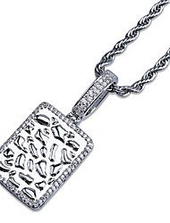 cheap -Men's AAA Cubic Zirconia Vintage Style / Stylish Pendant Necklace - 18K Gold Plated, Platinum Plated Creative Stylish, Trendy, Hip-Hop Gold, Silver 61 cm Necklace 1pc For Daily, Holiday