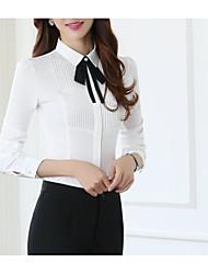 Недорогие -Жен. Офис Бант / Пэчворк Большие размеры - Рубашка Хлопок, Рубашечный воротник Тонкие Классический Однотонный