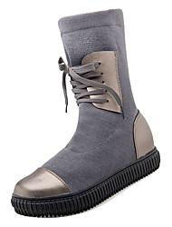 baratos -Mulheres Fashion Boots Couro Ecológico / Tecido elástico Outono Casual Botas Sem Salto Ponta Redonda Botas Cano Médio Preto / Cinzento