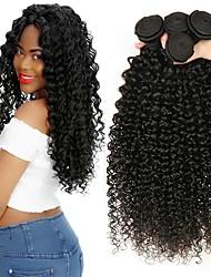 Недорогие -3 Связки Индийские волосы Kinky Curly 8A Натуральные волосы Необработанные натуральные волосы Человека ткет Волосы Удлинитель Пучок волос 8-28 дюймовый Черный Естественный цвет Ткет человеческих волос
