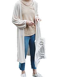 billige -Kvinders langermet lange cardigan - solid farvet v-hals
