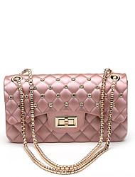 baratos -Mulheres Bolsas PVC Bolsa de Ombro Detalhes em Cristal Vermelho / Rosa / Cinzento