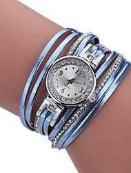 baratos -Mulheres Bracele Relógio Quartzo Novo Design Relógio Casual imitação de diamante PU Banda Analógico Casual Fashion Preta / Branco / Azul - Roxo Verde Azul Um ano Ciclo de Vida da Bateria