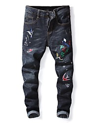 baratos -Homens Moda de Rua Jeans Calças - Animal Preto e Vermelho