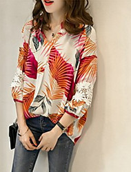 baratos -Mulheres Camisa Social Renda / Vazado / Patchwork, Floral / Geométrica / Estampa Colorida Folha tropical