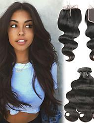 cheap -3 Bundles with Closure Malaysian Hair Body Wave Human Hair Human Hair Extensions / Hair Weft with Closure 8-26 inch Human Hair Weaves 4x4 Closure Best Quality / New Arrival / Hot Sale Human Hair