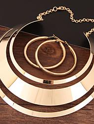Недорогие -Жен. Вырезка Комплект ювелирных изделий Массивный, Дамы, Простой, европейский Включают Серьги-кольца Цепочка Золотой / Серебряный Назначение Для вечеринок