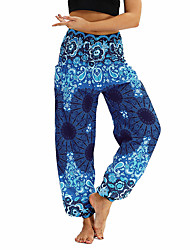cheap -Women's Pocket / Harem / Smocked Waist Yoga Pants - Light Purple, Jade, Ocean Blue Sports Floral Print, Bohemian, Hippie Bloomers / Bottoms Belly Dance, Fitness Activewear Lightweight, Moisture