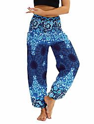 baratos -Mulheres Bolsos / Harém / Cintura em Elástico Franzido Calças de Yoga - Roxo Claro, Verde Caçador, Azul Oceano Esportes Floral, Boêmio, Hippie Calçolas / Calças Dança do Ventre, Fitness Roupas