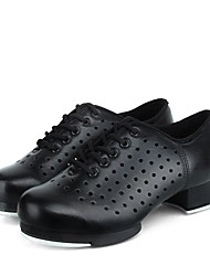 baratos -Homens Sapatilhas de Sapateado Couro Sintético Têni Saiu ao lado Salto Grosso Personalizável Sapatos de Dança Preto