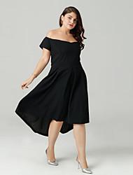 זול -סירה רחב א-סימטרי שמלה גזרת A רזה בגדי ריקוד נשים