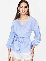 cheap -Women's Puff Sleeve Loose Shirt - Striped Bow V Neck / Summer