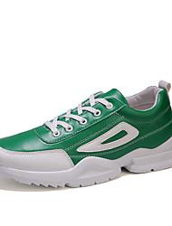 baratos -Homens Sapatos Confortáveis Couro Ecológico Outono Esportivo Tênis Corrida Não escorregar Estampa Colorida Preto / Vermelho / Verde