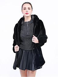 baratos -Mulheres Tamanhos Grandes Casaco de Pêlo Sólido, Pêlo Sintético / Inverno