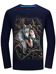 baratos -Homens Camiseta Moda de Rua Estampado, Animal / Retrato Lobo