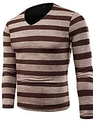 billige -Herre Basale Pullover - Ensfarvet / Stribet / Farveblok