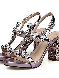 povoljno -Žene Cipele Mekana koža Proljeće Udobne cipele Sandale Kockasta potpetica Crvena / Pink