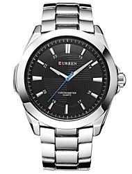 baratos -Homens Relógio de Pulso Cronógrafo / Relógio Casual / Legal Aço Inoxidável Banda Rígida / Minimalista Preta / Prata