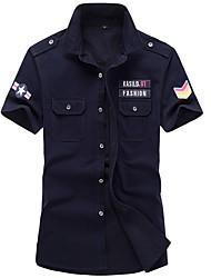Недорогие -Муж. Вышивка Рубашка Армия Геометрический принт