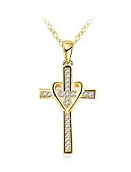 Недорогие -Муж. Классический Стильные Ожерелья с подвесками Стразы Крест Стиль Золотой 46+5 cm Ожерелье Бижутерия 1шт Назначение Повседневные