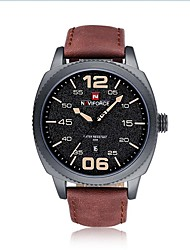cheap -NAVIFORCE Men's Dress Watch Wrist Watch Japanese Japanese Quartz 30 m Water Resistant / Water Proof Calendar / date / day Shock Resistant Genuine Leather Band Analog Casual Fashion Black / Brown -