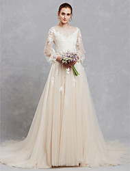 cheap -A-Line Illusion Neck Court Train Lace / Tulle Made-To-Measure Wedding Dresses with Appliques / Lace by LAN TING BRIDE® / Illusion Sleeve