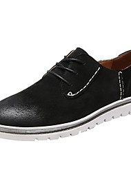 Недорогие -Муж. Комфортная обувь Свиная кожа Весна / Осень Английский Туфли на шнуровке Доказательство износа Черный / Серый / Военно-зеленный