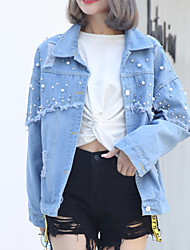 cheap -Women's Basic Denim Jacket - Solid Colored, Beaded