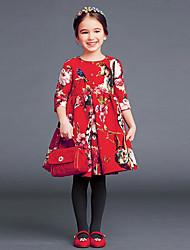 Недорогие -Дети / Дети (1-4 лет) Девочки Цветочный принт Рукав до локтя Платье