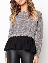 billige -Dame langærmet pullover - farveblok rundt om halsen