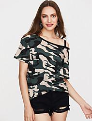 cheap -Women's Cotton Loose T-shirt - Camouflage, Print Off Shoulder