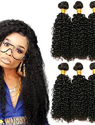 Недорогие -3 Связки Бразильские волосы Kinky Curly 8A Натуральные волосы Головные уборы Удлинитель Пучок волос 8-28 дюймовый Черный Естественный цвет Ткет человеческих волос