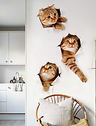 Недорогие -Декоративные наклейки на стены - Простые наклейки Животные Гостиная / Ванная комната