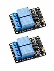 Недорогие -2шт 2-канальный релейный модуль постоянного тока 5 В с доплеровской панелью с низким уровнем триггера для arduino uno r3 mega 2560